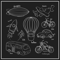 Sketches means of transport, vector illustration