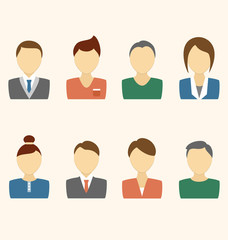 Set of business avatar office employees on beige background