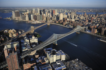 Aerial view of Lower Manhattan, Brooklyn Bridge, Manhattan Bridg