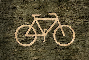 sign bicycles on the bark