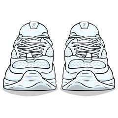 Vector Cartoon White Running Shoes