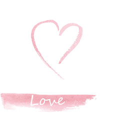 Watercolor pink hand drawn heart.