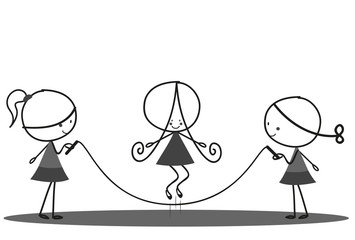 Doodle Children playing jumping rope in the Park