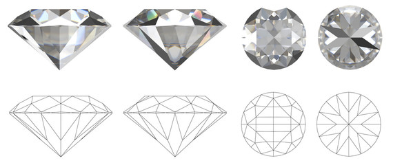 Image of diamond from four sides with technical drawing of folds