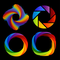 A set of rainbow colored photography shutter logos