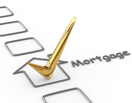 Checklist with gold mortgage check
