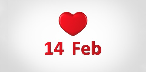 14 Feb 3D red text and heart on white gray background