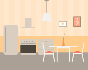 Vector Illustration of a Kitchen