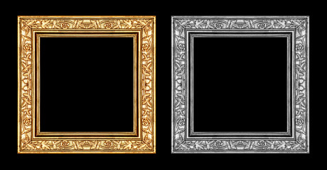 vintage gold and gray frame isolated on black background and cli