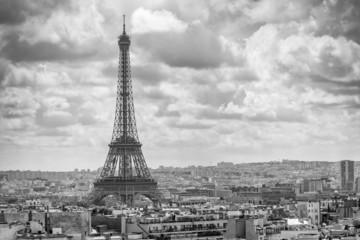Aerial view of Tour Eiffel and Paris cityscape