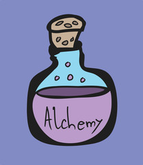 Test Tube, alchemy symbols cartoon