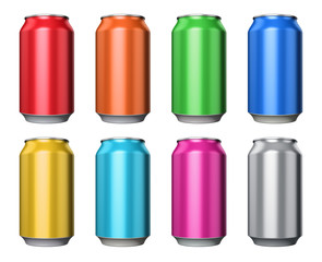 Set of color metal drink cans