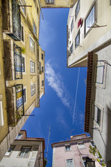 typical narrow building architecture of Lisbon