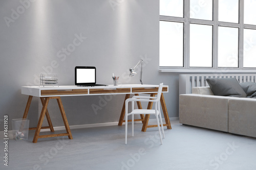 schreibtisch als home office im wohnzimmer. Black Bedroom Furniture Sets. Home Design Ideas