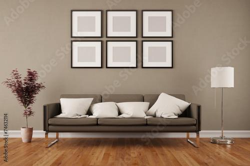 Wand mit bilderrahmen im wohnzimmer stockfotos und for Bilderrahmen wohnzimmer