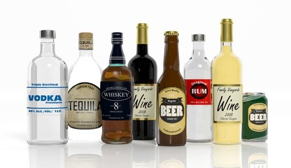 3D collection of alcoholic beverages bottles