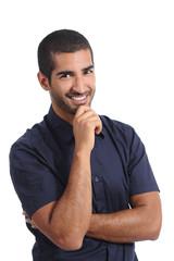Attractive arab pensive man thinking and looking at camera