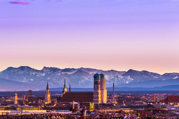 Munich Alps sunset Wall mural