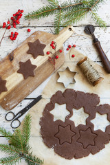homemade rustic gingerbread star shaped cookies for Christmas