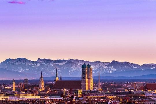 Munich Alps sunset