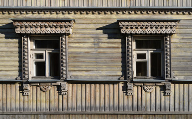 Two old carved wooden windows