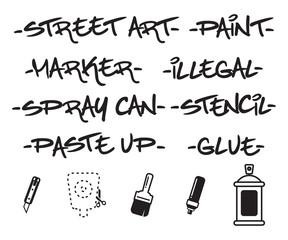 Street Art Handwriting And  Icons