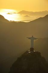 Aerial view of Christ on Corcovado Hill, Rio de Janeiro, Brazil