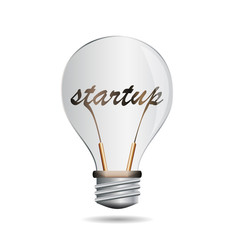 Vector concept startup,text in the lamp