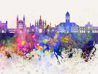 Cambridge skyline in watercolor background Wall mural