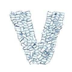 V lettera diamanti cristalli gemme 3d, sfondo bianco