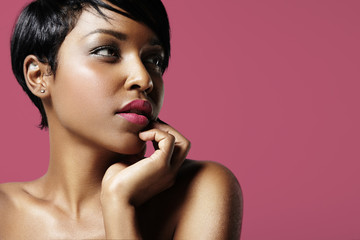 beauty black woman in a deep pink background