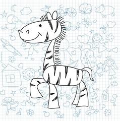 Детские рисунки каракули зебры
