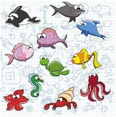 Набор милый мультфильм рыбы на каракули фоне