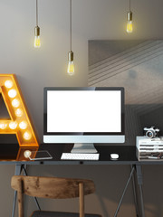 Modern workspace with computer and bulbs