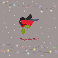 winter holiday card background with bullfinches and branch of H