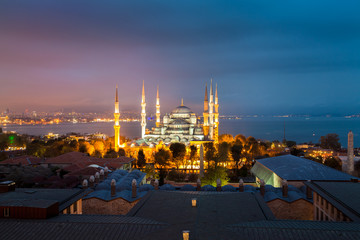 Blue Mosque in Istanbul at sunset higher point of view