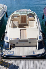 Parked motorboat