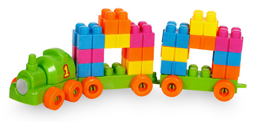 Train of colorful childrens building bricks