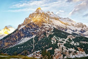 Alpine peak in swiss highland near Interlaken
