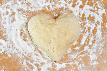 Dough in form of heart