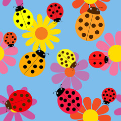 Seamless ladybugs and flowers.