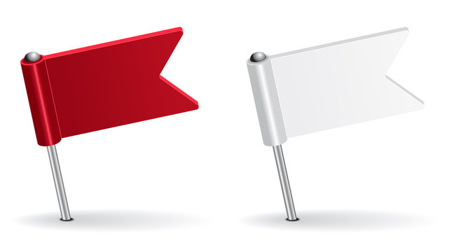 Red and white pin icon flag. Vector illustration