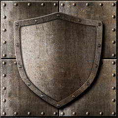 Wall Mural - old metal shield over armor background