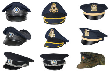 Collection of police peak-caps.