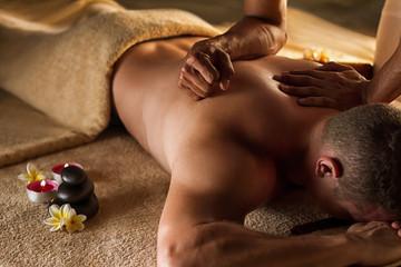Deep tissue massage. Spa setup