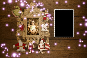 Baby Jesus picture and vintage empty photo frame
