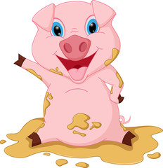 Happy pig cartoon playing in mud