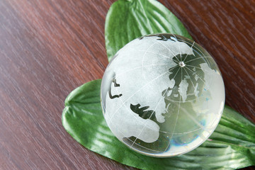 A glass globe on green leaves, isolated on a wooden table