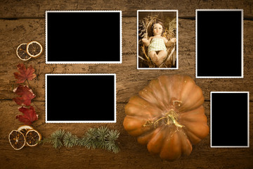 Baby Jesus photho and four empty photos frames