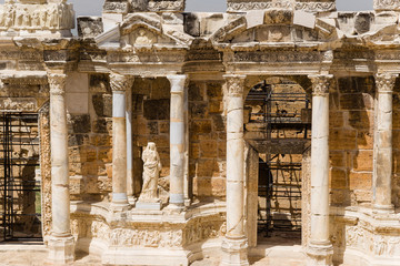 Hierapolis. Fragment of ancient theater scene, 1 - 4 century AD